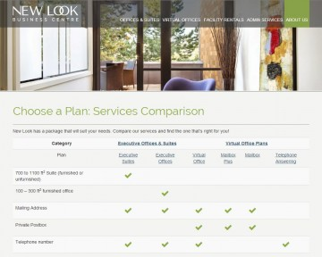 Services Comparison page
